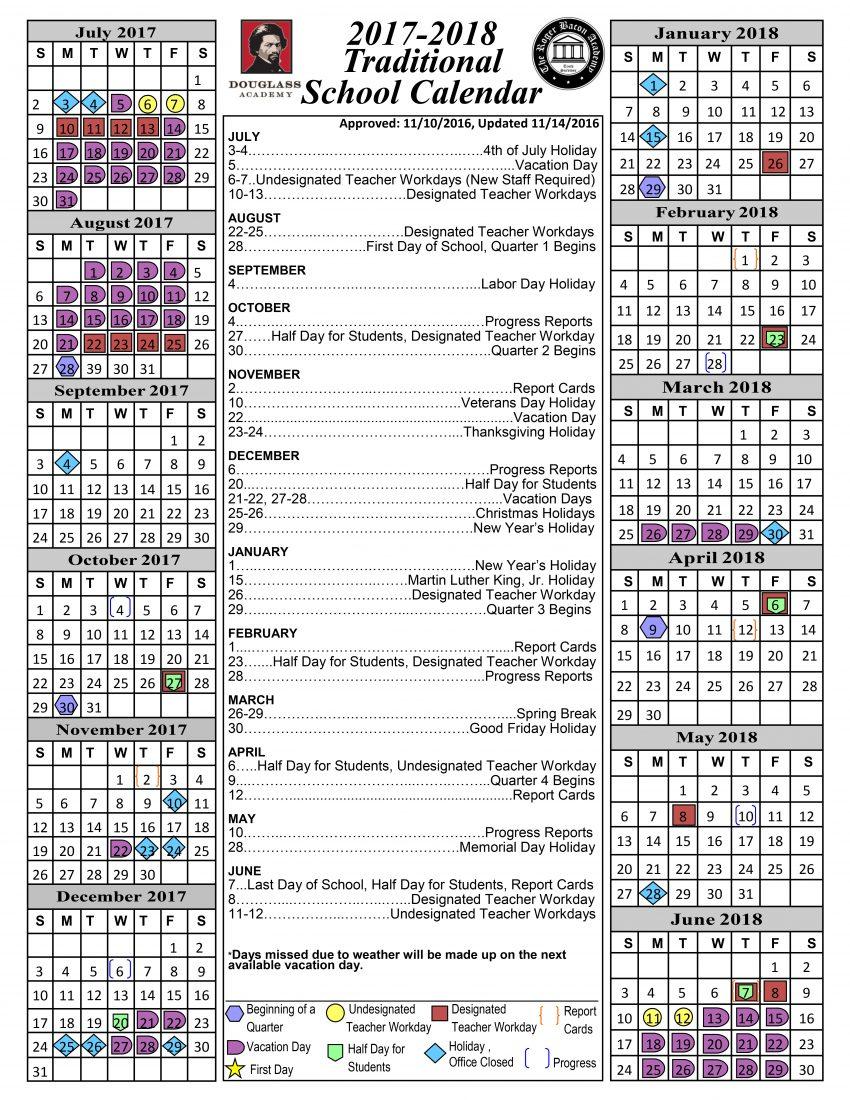 Calendar Douglass Academy